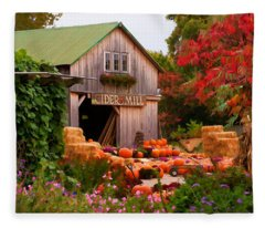 Vermont Pumpkins And Autumn Flowers Fleece Blanket