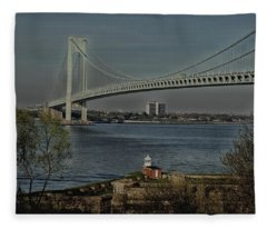 Verrazano Bridge And Fort Wadsworth Fleece Blanket