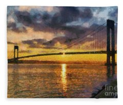 Verrazano Bridge During Sunset Fleece Blanket