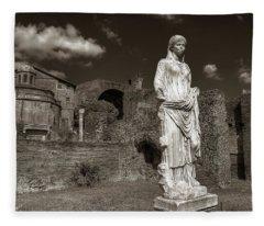 Vestal Virgin Courtyard Statue Fleece Blanket
