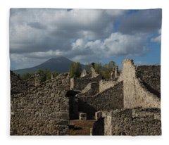 Vesuvius Towering Over The Pompeii Ruins Fleece Blanket