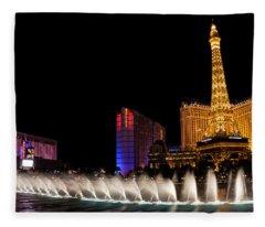 Vibrant Las Vegas - Bellagio's Fountains Paris Bally's And Flamingo Fleece Blanket