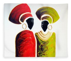 Vibrant Zulu Ladies - Original Artwork Fleece Blanket