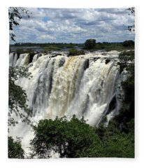 Victoria Falls On The Zambezi River Fleece Blanket