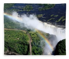 Rainbow Over Victoria Falls  Fleece Blanket