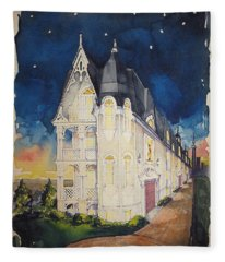 The Victorian Apartment Building By Rjfxx. Original Watercolor Painting. Fleece Blanket