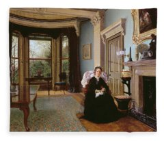 Victorian Interior With Seated Lady Fleece Blanket