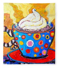 Viennese Cappuccino Whimsical Colorful Coffee Cup Fleece Blanket