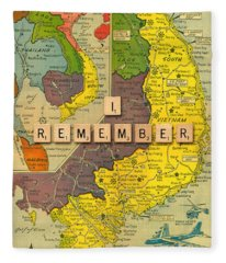 Vietnam War Map Fleece Blanket