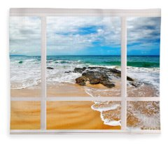 View From My Beach House Window Fleece Blanket