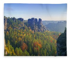 View From The Bastei Bridge In The Saxon Switzerland Fleece Blanket