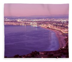 View Of Los Angeles Downtown Fleece Blanket