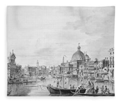 View Of The Grand Canal, Venice, C.1800 Pen & Ink Wash Fleece Blanket