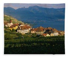 Village On A Hillside, Rivaz, Lavaux Fleece Blanket