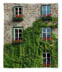 Vine Covered Stone House And Windows Fleece Blanket
