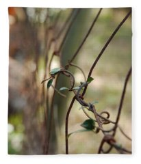 Vine On Rusted Fence Fleece Blanket