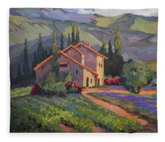 Vineyard And Lavender In Provence Fleece Blanket