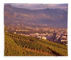 Vineyard At A Hillside, Lake Geneva Fleece Blanket