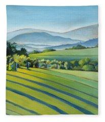Green Fields Fleece Blankets