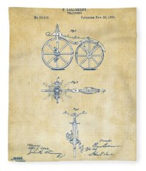 Vintage 1866 Velocipede Bicycle Patent Artwork Fleece Blanket