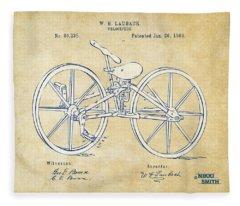 Vintage 1869 Velocipede Bicycle Patent Artwork Fleece Blanket
