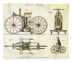 Vintage 1885 Daimler Reitwagen First Motorcycle Fleece Blanket