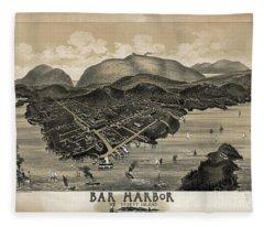 Vintage Bar Harbor Map Fleece Blanket