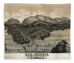 Vintage Bar Harbor Map Fleece Blanket