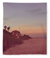 Vintage Beach Hut Fleece Blanket