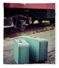 Vintage Blue Suitcases With Red Caboose Fleece Blanket