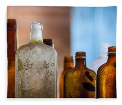 Vintage Bottles Fleece Blanket