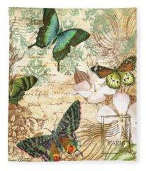 Vintage Butterfly Kisses  Fleece Blanket