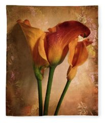 Vintage Calla Lily Fleece Blanket
