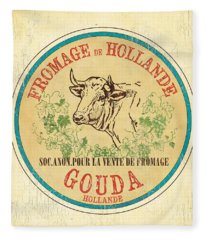 Vintage Cheese Label 1 Fleece Blanket