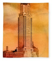 Vintage Chrysler Building Fleece Blanket