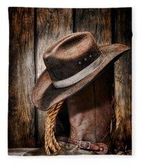 Vintage Cowboy Boots Fleece Blanket
