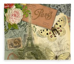 Vintage Eiffel Tower Paris France Collage Fleece Blanket