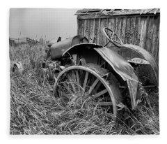 Vintage Farm Tractor Fleece Blanket