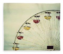 Vintage Ferris Wheel Fleece Blanket