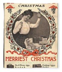 Vintage Kodak Christmas Card Fleece Blanket