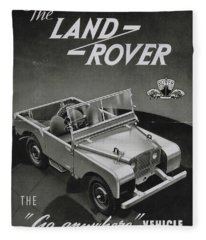 Vintage Land Rover Advert Fleece Blanket