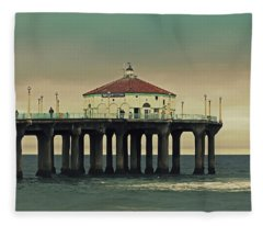 Vintage Manhattan Beach Pier Fleece Blanket