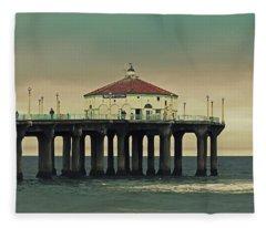 Vintage Manhattan Beach Pier Fleece Blanket