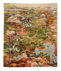 Vintage Map Of Yellowstone National Park Fleece Blanket