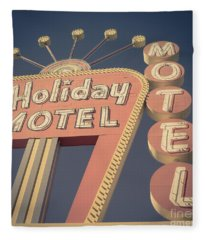 Vintage Motel Sign Holiday Motel Square Fleece Blanket