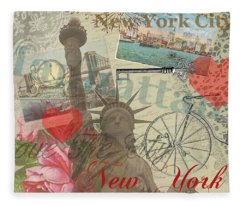Vintage New York City Collage Fleece Blanket