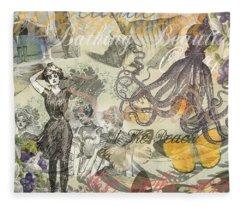 Vintage Octopus And Bathing Beauties Fleece Blanket