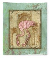 Vintage Pink Flamingo-1 Fleece Blanket