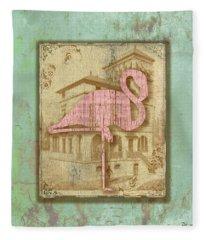 Vintage Pink Flamingo-2 Fleece Blanket