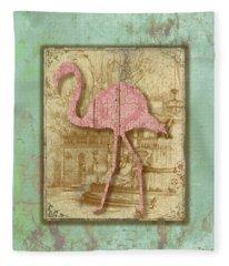 Vintage Pink Flamingo-3 Fleece Blanket